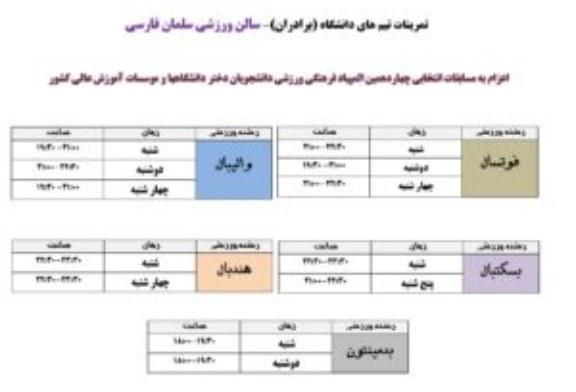 آغاز تمرینات تیم های ورزشی دانشگاه- مهر ماه ۱۳۹۶